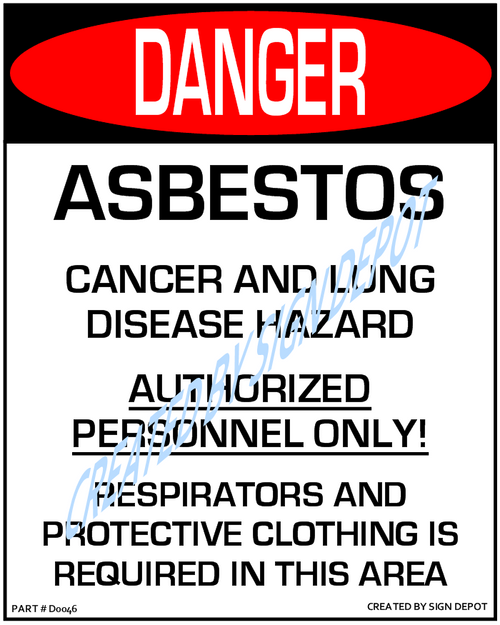 Danger, Asbestos, Cancer & Lung Disease Hazzard, Authorized Personnel Only, Respirators and Protective Clothing Is Required In This Area Sign - Downloadable Product. Never Order Signs Again - Order, Download, Save, and Print as Needed.