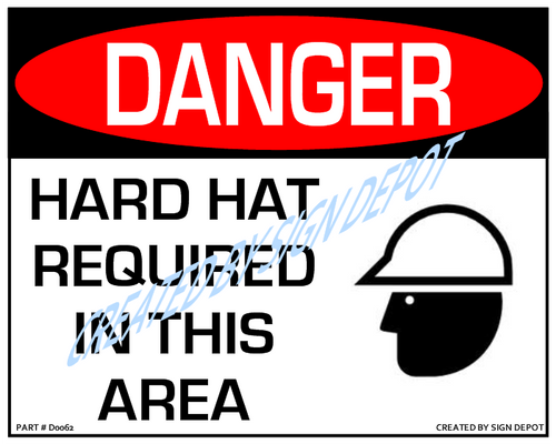 Danger, Hard Hat Required In This Area With Symbol Sign - Downloadable Product. Never Order Signs Again - Order, Download, Save, and Print as Needed.