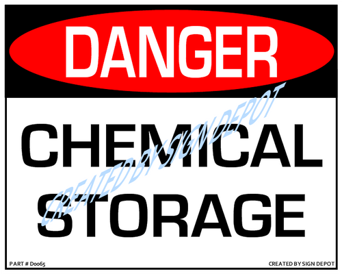 Danger, Chemical Storage Sign - Downloadable Product. Never Order Signs Again - Order, Download, Save, and Print as Needed.