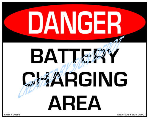 Danger, Battery Charging Area Sign - Downloadable Product. Never Order Signs Again - Order, Download, Save, and Print as Needed.