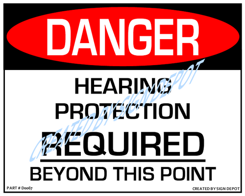 Danger, Hearing Protection Required Beyond This Point Sign - Downloadable Product. Never Order Signs Again - Order, Download, Save, and Print as Needed.