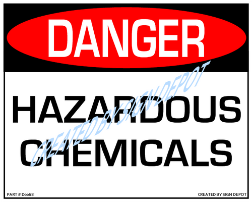 Danger, Hazardous Chemicals Sign - Downloadable Product. Never Order Signs Again - Order, Download, Save, and Print as Needed.