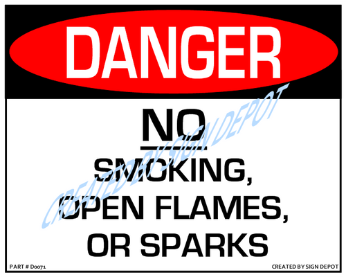 Danger, No Smoking, Flames, Or Sparks Sign - Downloadable Product. Never Order Signs Again - Order, Download, Save, and Print as Needed.