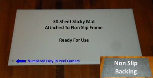 Sticky Mat And Mat Frame In A Combination Pack. One Non Slip Frame That Holds You Mat In Place. Makes It Easy To Transport Your Mat. 18 Inch X 36 Inch Mat