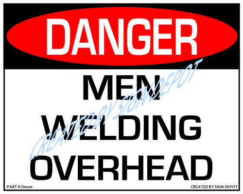Danger, Men Welding Overhead Sign- Downloadable Product. Never Order Signs Again - Order, Download, Save, and Print as Needed.