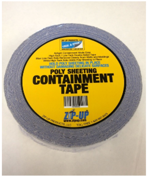 Containment Tape for Creating Zipper Doors and Attaching Poly Sheeting To Sensitive Areas (Painted Walls, Finished Wood Work, Wallpaper, Etc.), Used in areas where poly sheeting needs to be in a Zip-Wall Application.