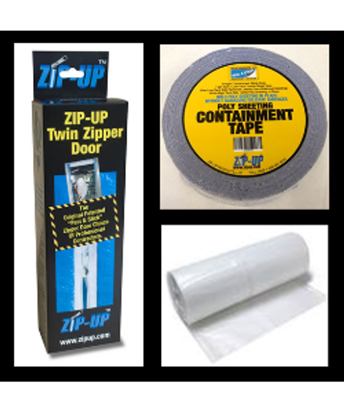 12 Door zipper door package For Large Doors, includes 4 mil, 8' x 100' plastic sheeting, Zip-Up Containment Tape, and Zip-Up Zippers From LeadPaintEPAsupplies.com