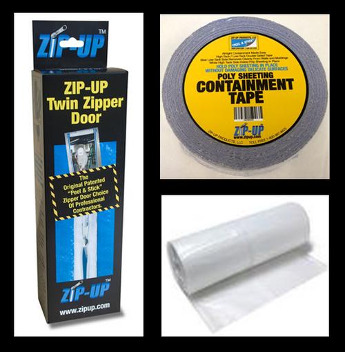 12 Door zipper door package For Large Doors, includes 4 mil, 8' x 100' plastic sheeting, Zip-Up Containment Tape, and Zip-Up Zippers From LeadPaintEPAsupplies.com