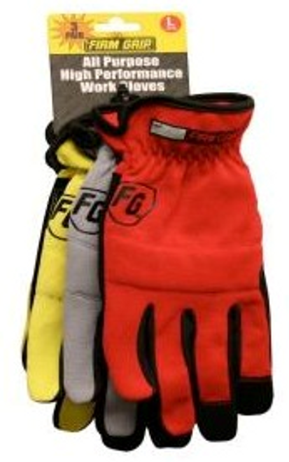 High Performance Work Gloves, 3 Pair Value Pack, Synthetic Leather Padded Palm, Padded Knuckles With Elastic Wrist