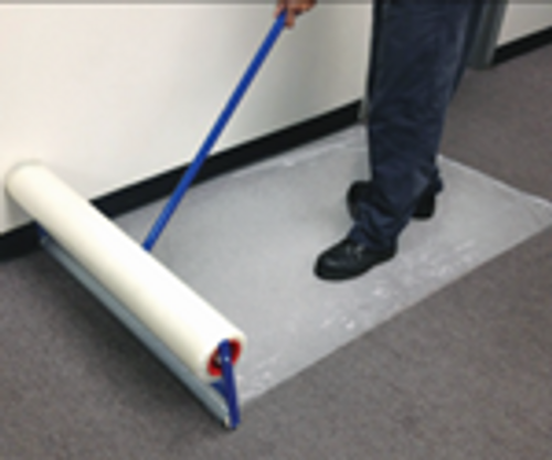 "Zip-Up Carpet protection film from www.leadPaintEPAsupplies.com, The Renovators Supply Store.  36"" x 200' Peel and stick adhesive technology being placed with optional applicator"