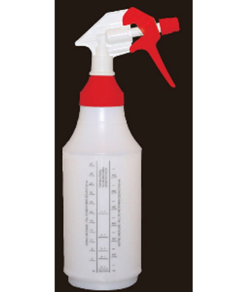 32oz reusable spray bottle with wide mouth top.  Tip will adjust to stream or a spray.