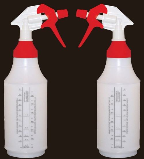 32oz reusable spray bottle with wide mouth top.  Tip will adjust to stream or a spray. 2 bottle package