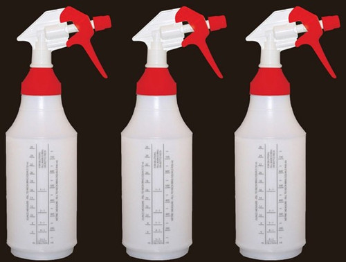 32oz reusable spray bottle with wide mouth top.  Tip will adjust to stream or a spray. 3 bottle package