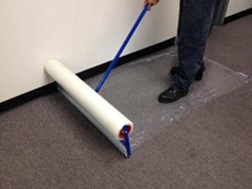 """Carpet Film Applicator for 24"""" x 200' roll of film, easily apply film is moments instead of rolling out by hand.  Reduce time and become more efficient, from Zip-Up and LeadPaintEPAsupplies.com"""