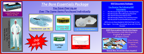 The Bare Essentials Package For Lead Based Paint Clean Up at http://www.LeadPaintEPAsupplies.com