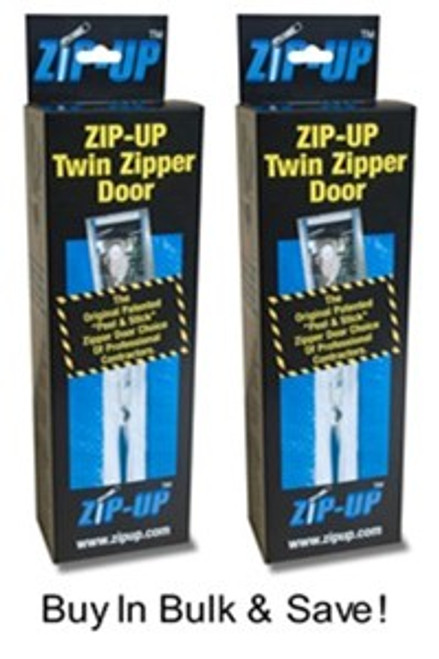 Zip-Up Twin Zipper Door Zippers.  Used For Creating A Temporary Containment Area - Two Complete Zippers Per Box - You Get 2 Boxes