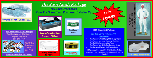 The Basic Needs Package For Lead Based Paint Clean Up at http://www.LeadPaintEPAsupplies.com