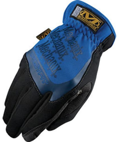 Mechanix Gloves, Fast Fit Blue, Wide Opening Elastic Cuff, Large