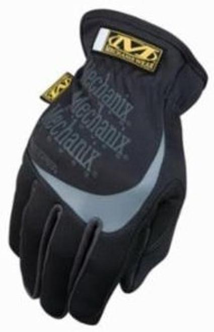 Mechanix Gloves, Fast Fit Black & Gray, Wide Opening Elastic Cuff, Medium