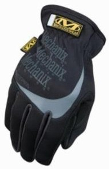 Mechanix Gloves, Fast Fit Black & Gray, Wide Opening Elastic Cuff, Large