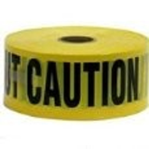 Caution Tape, 1000 x 3 Wide, Yellow and Black, 3 mil