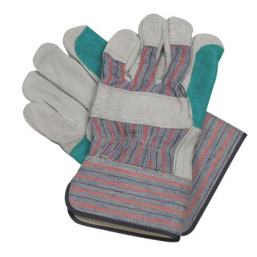 5 LG Pairs Of Split Leather Palm Patch Work Gloves With Extended Cuff