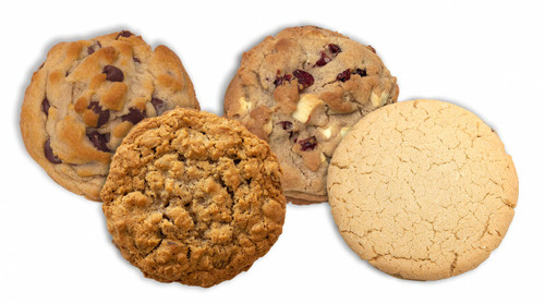 Variety Pack 3 ... 3 Chocolate Chip, 3 Oatmeal Raisin, 3 White Chocolate Cranberry, 3 Butter Cookies