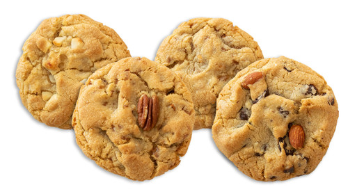 Nuts for Cookies ... 3 White Chocolate Macadamia, 3 Cinnamon Toffee Pecan, 3 Butterscotch Almond Toffee, 3 Almond Chocolate Chip
