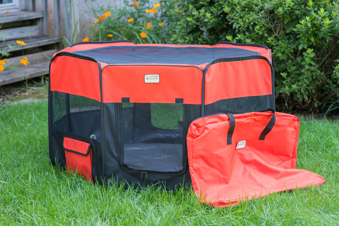 Armarkat Portable Playpen PP002R-Medium Black and Red Combo