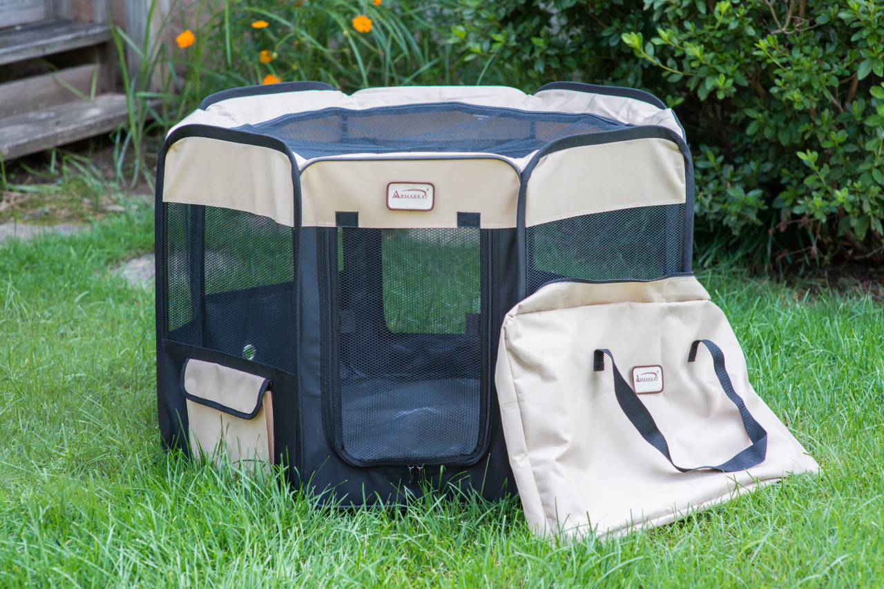 Armarkat Portable Playpen PP003BGE-XL Black and Beige Combo