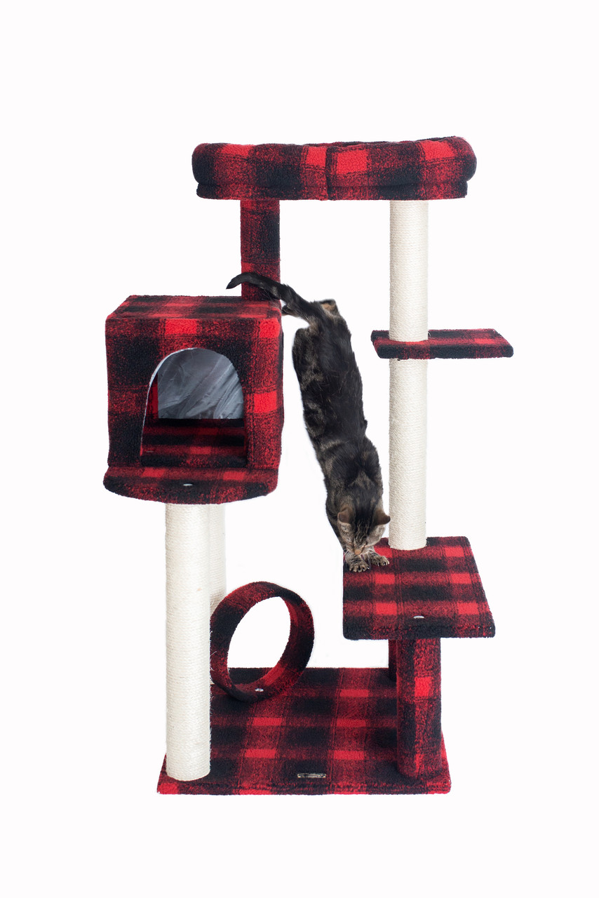 Armarkat Model B5008 50-inch Classic Cat Tree with veranda, bench, mini perch, and spacious lounger in Scotch Plaid