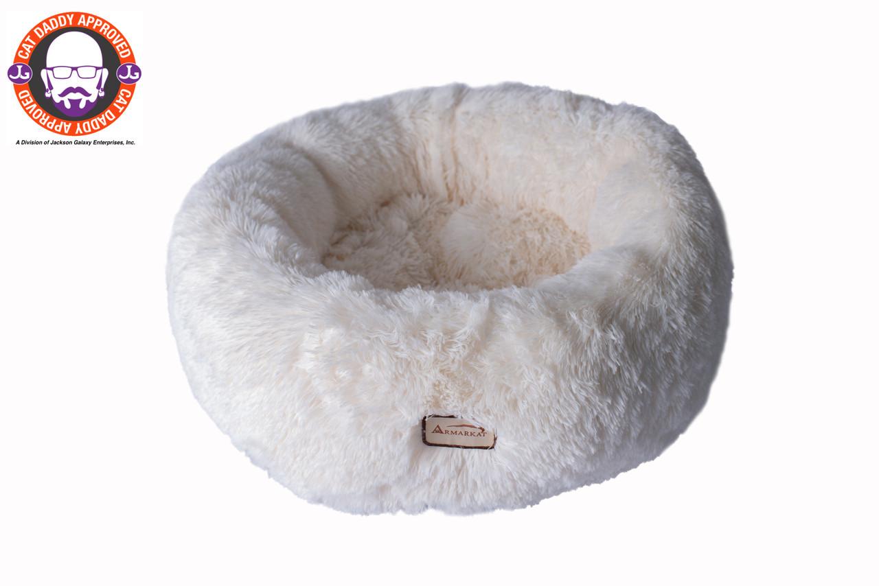 white fuzzy animal bed