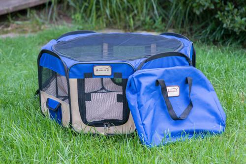 Armarkat Portable Playpen PP001B Medium Blue and Beige Combo