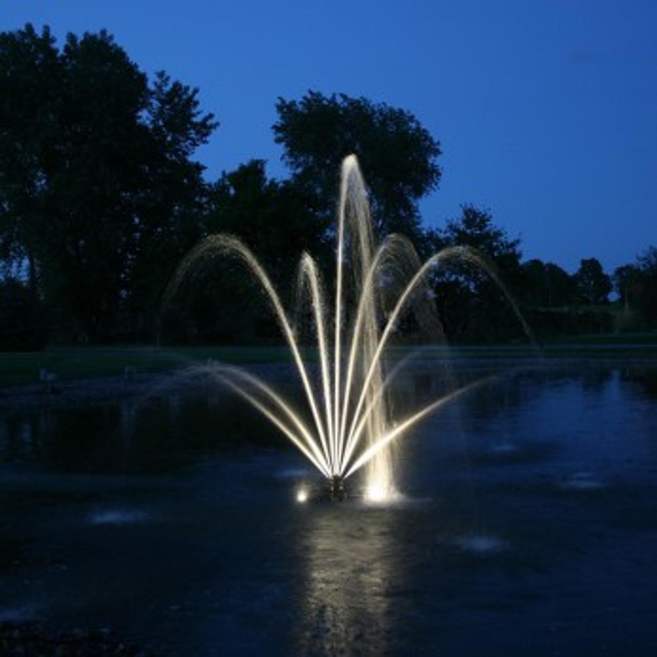 Kasco Marine 2400SF xStream Fountain shown with puck lighting