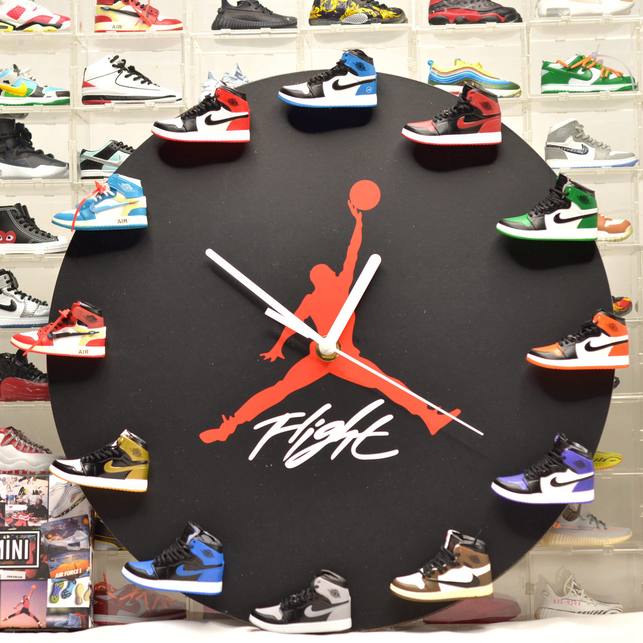 Handcrafted AJ 3D Sneakers Clock with All AJ1 Mini Sneakers