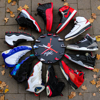 Handcrafted AJ 3D Sneaker Clock with 1-12 Mini Sneakers
