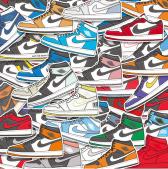 46 Non-Repetitive AJ 1 Stickers Removable and Waterproof