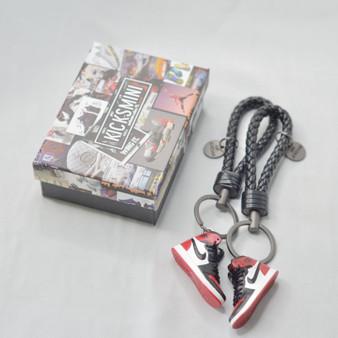 """AJ1 """"Bred Toe"""" 3D Sneaker Keychain"""
