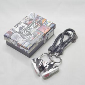 """AJ3  """"Black Cement""""  3D Sneaker Keychain"""