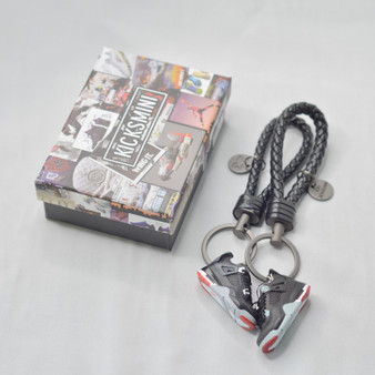 """AJ4  """"Black Cement""""  3D Sneaker Keychain"""