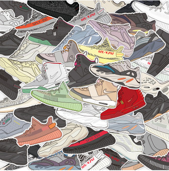 46 Non-Repetitive Yeezy NMD Stickers Removable and Waterproof