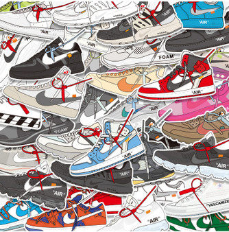 36 Non-Repetitive OW Sneakers Stickers Removable and Waterproof