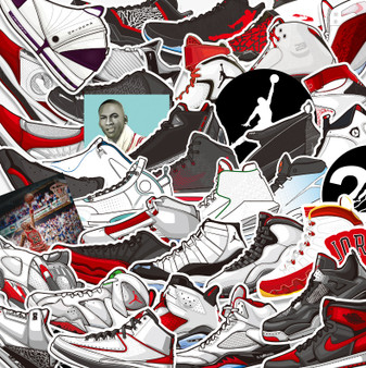 45 Non-Repetitive Air Jordan Sneakers Stickers Removable and Waterproof