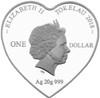 Heart-Shaped Silver Coin 2018 Tokelau
