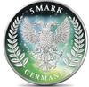 Frozen GERMANIA Aurora Rhodium 5 Mark 1 Oz .9999 Silver Round