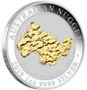 "SILVER NUGGET ""Welcome Stranger"" 1 oz Gilded proof coin 2019 AUS"