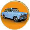 5 Mark 20 Years GDR- full gold plated - colorized trabant  original coin