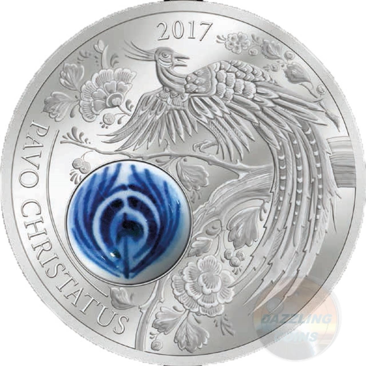 Pavo Christatus 50 g Silver Coin Cook Island 2017 Royal Delft™ Peacock