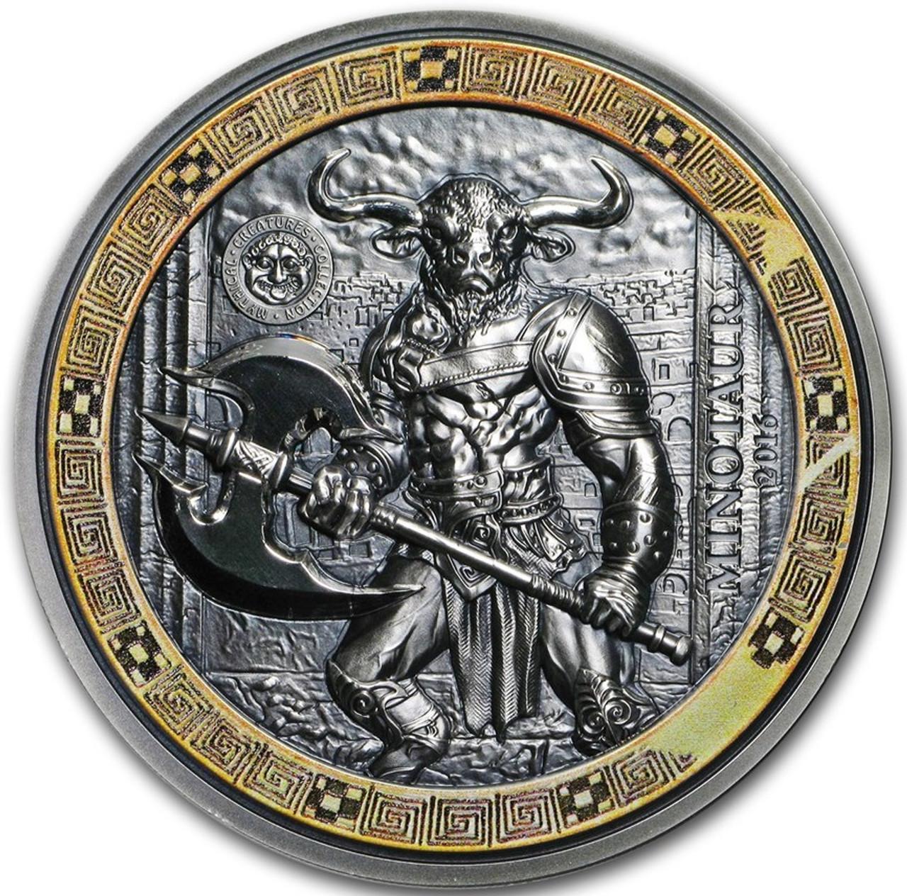 2016 2 Oz Silver $10 MINOTAUR Mythical Creatures Coin Palau.