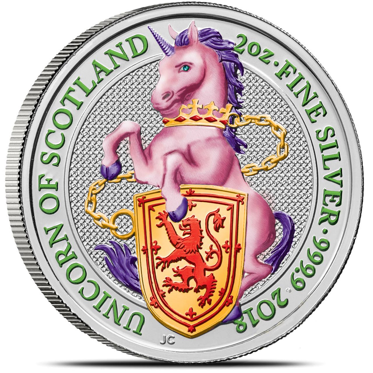 2018 2 Oz Silver £5 QUEEN/'S BEAST UNICORN Coin.